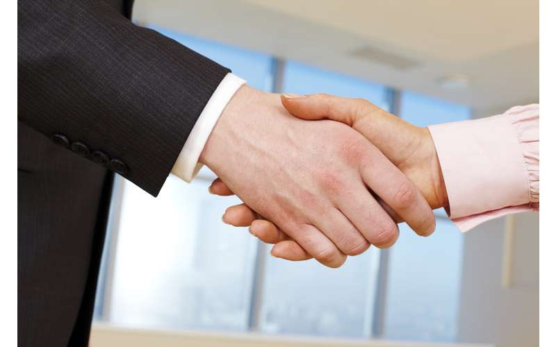 shaking hands in a business setting
