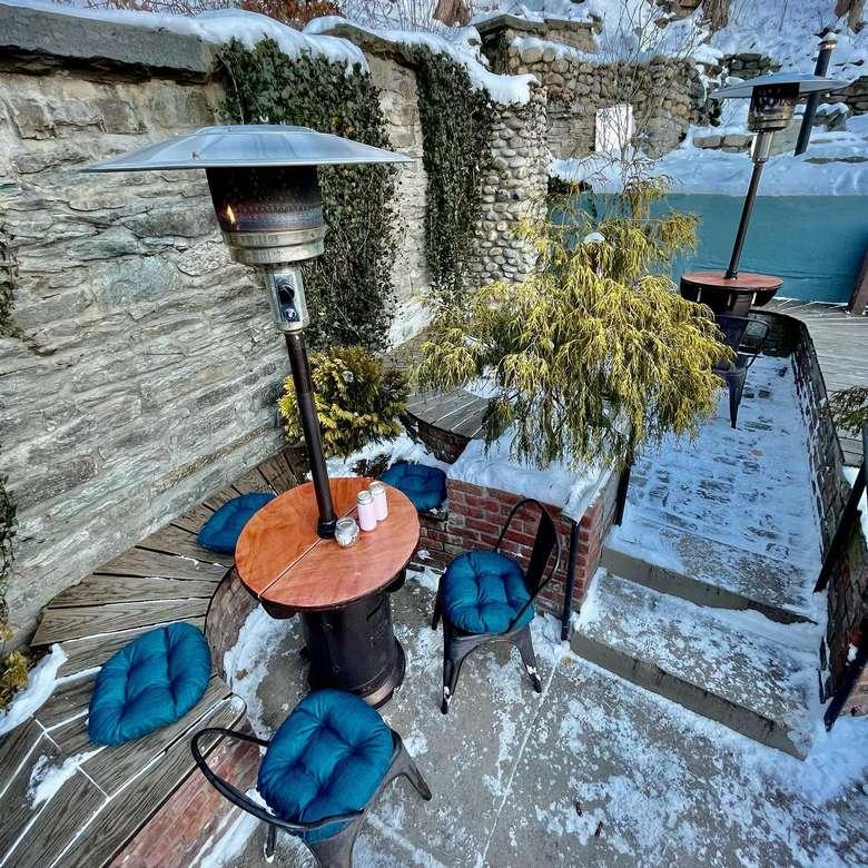 patio in winter