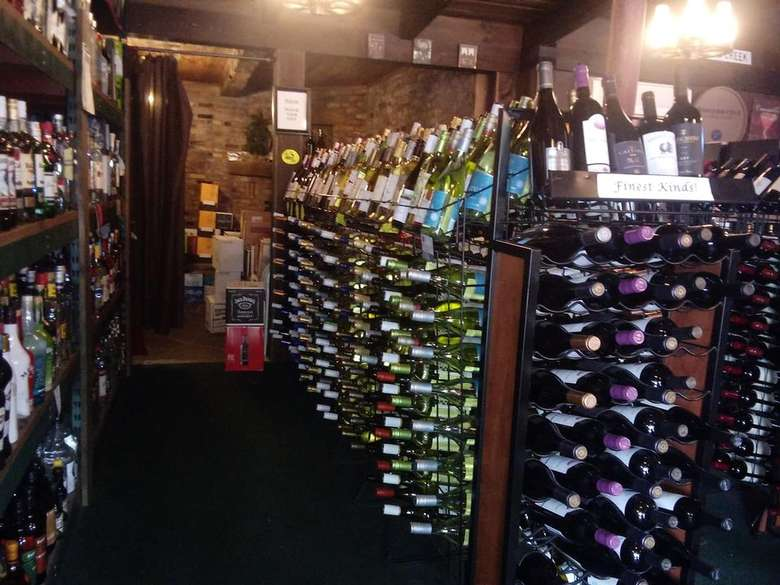 bottles of wine in a store