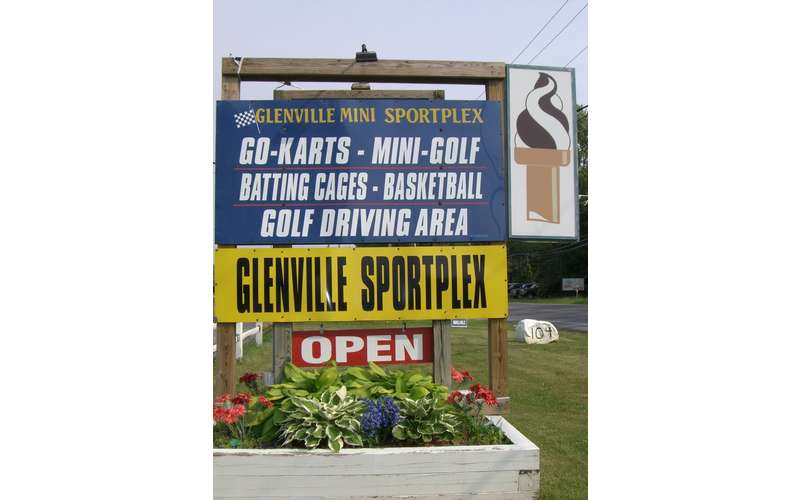 the entrance sign for Glenville Sportplex describing all their attractions