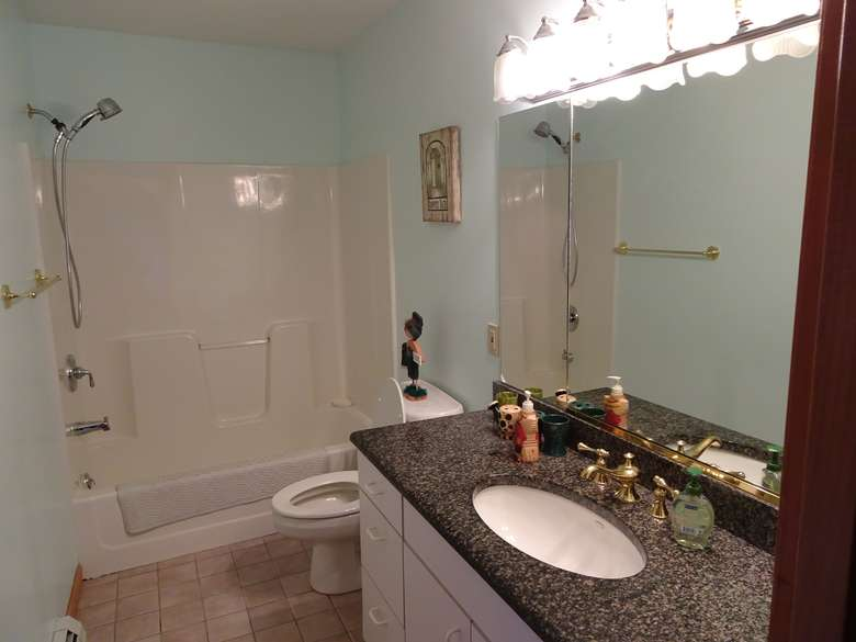 a bathroom with a sink, a toilet, and a bathtub and shower combo