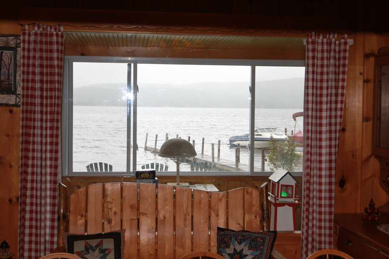 a view of the lake from a window