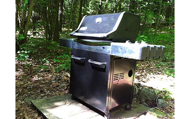 a gas grill outside