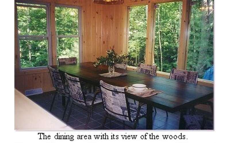 a dining table in a room with tall windows