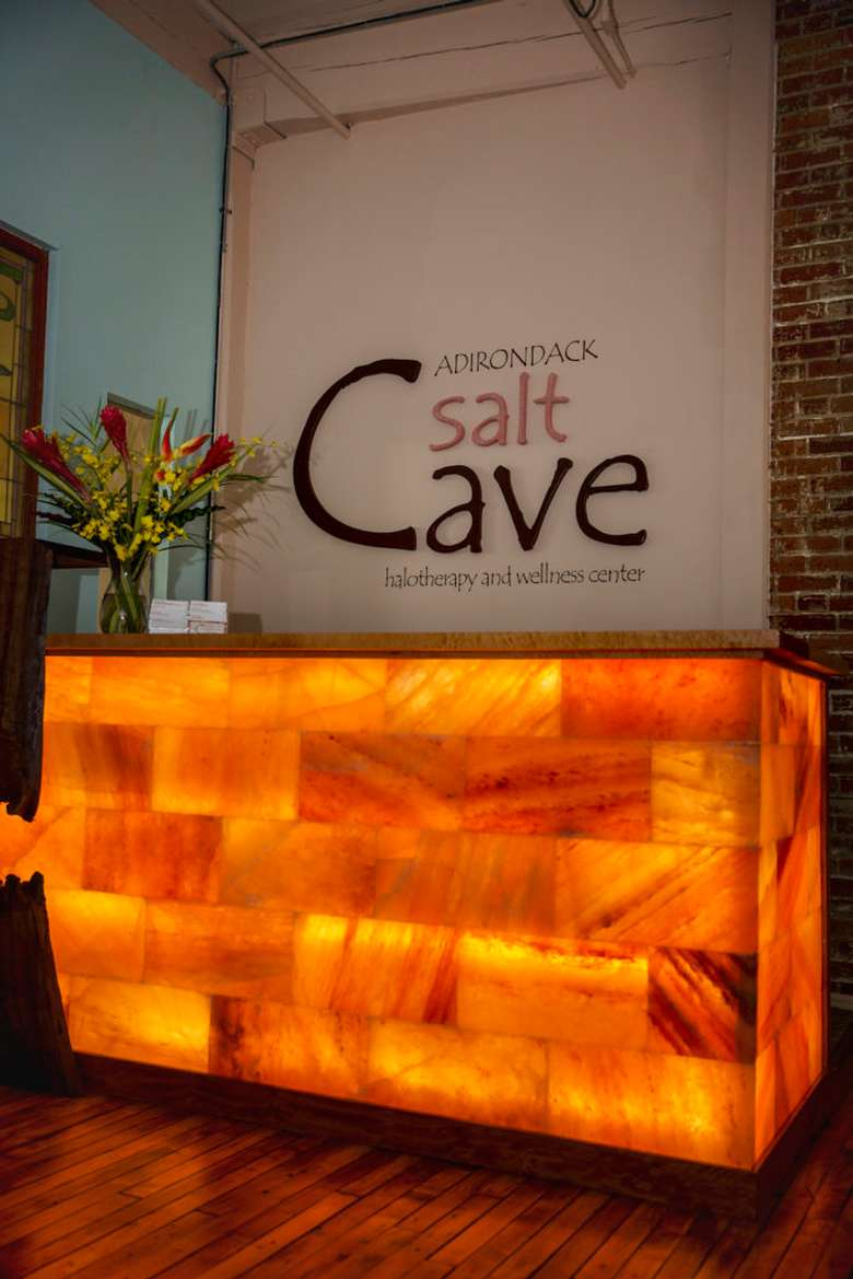 front desk at the Adirondack Salt Cave