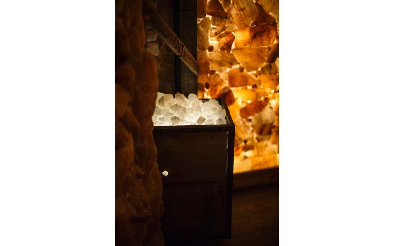 a cart full of salt in a salt cave