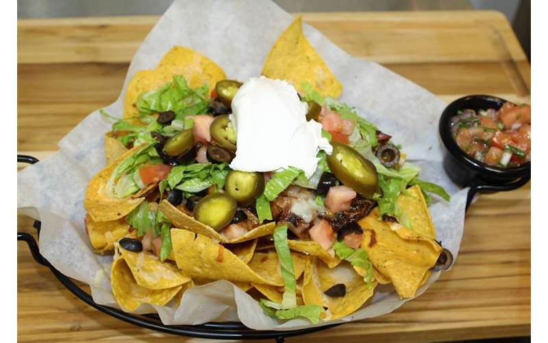 loaded nachos with salsa