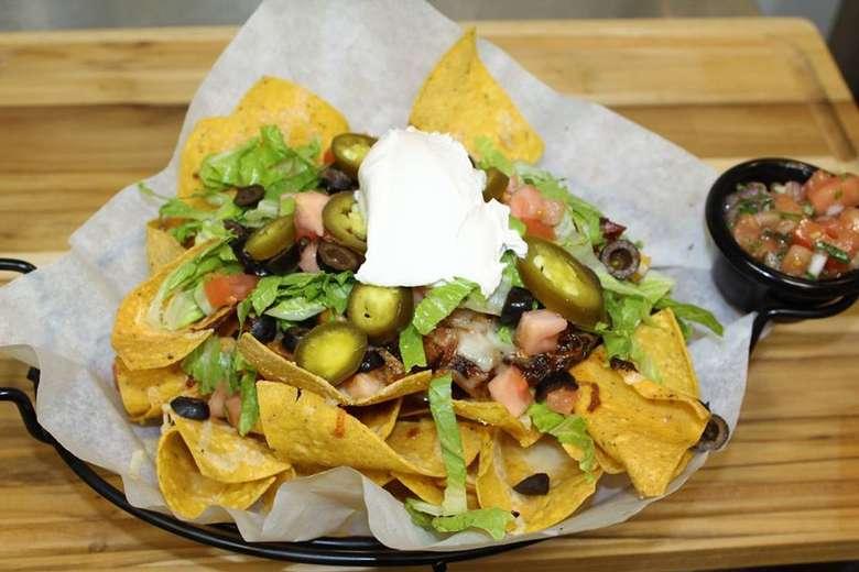 loaded nachos with salsa