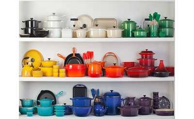 colorful pots and pans on three shelves