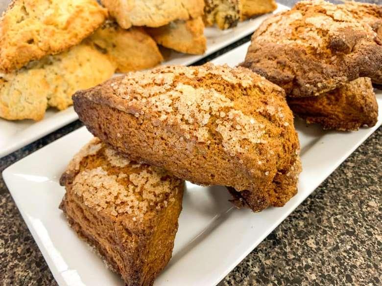 baked goods on white plates