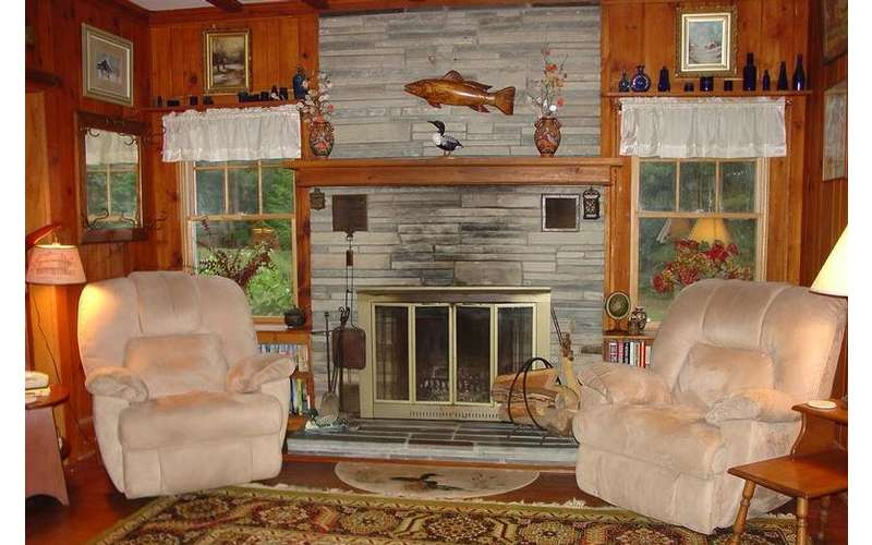 two chairs on the side of a fireplace in a living room
