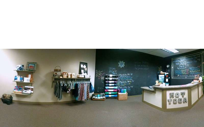 a somewhat panoramic view of the lobby at the studio
