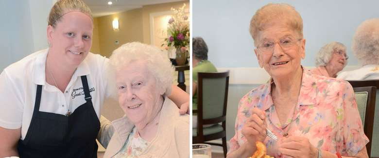 side by side photos, one of an elderly woman with a plate of food, and the second of an elderly woman with a female chef in an apron