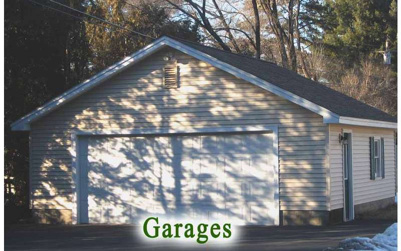 close up view of a garage with two doors