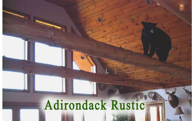 a black bear decoration on wooden rafters inside a house