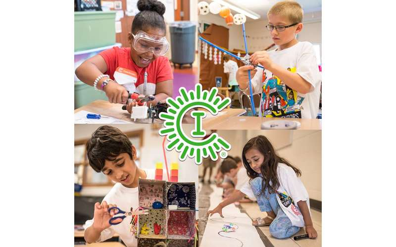camp invention promo image of kids working on STEM projects