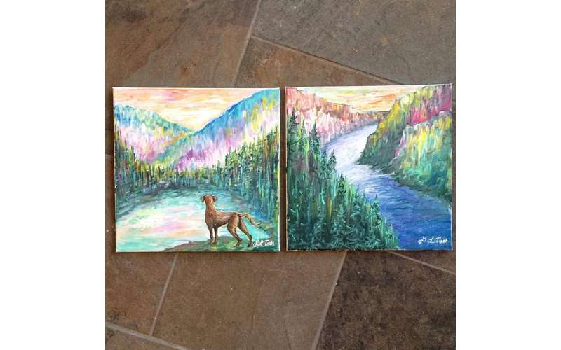 two side by side paintings of a river, one is different and has a dog