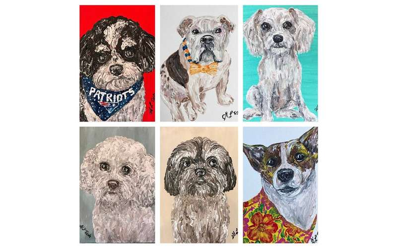 six painted portraits of dogs