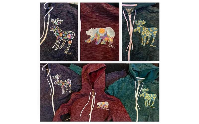 hoodies with painted wild animals on them