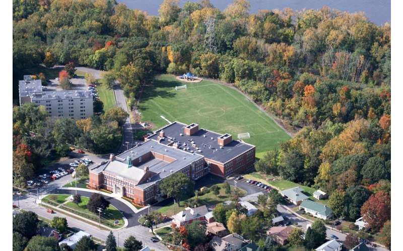 aerial view of the school