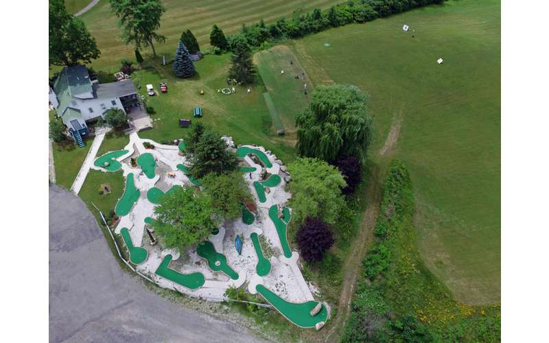 an aerial view of a mini golf course