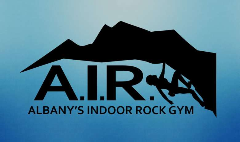 the logo for albany's indoor rock gym