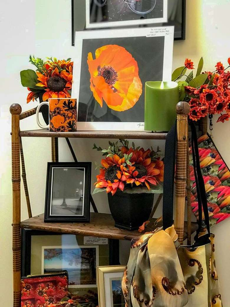 autumn themed artworks and display