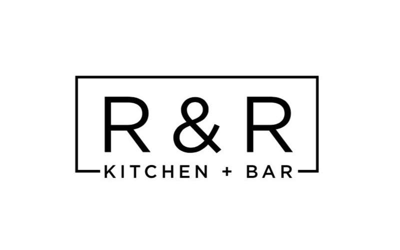 the logo for r and r kitchen and bar