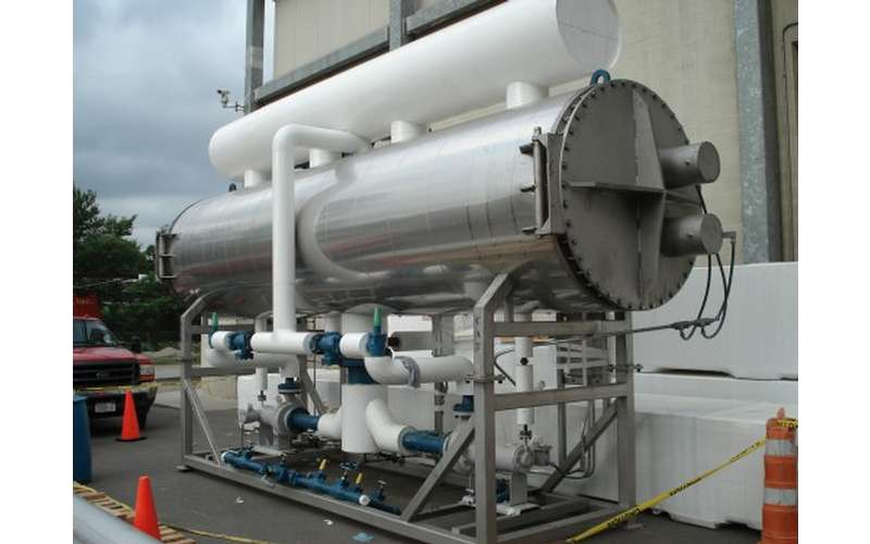 a spray chiller near a building