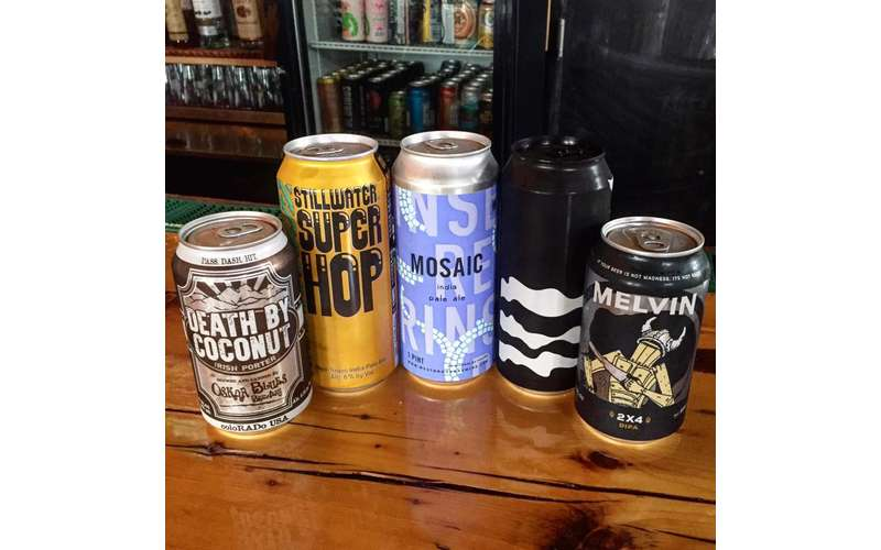 five different beers in a group