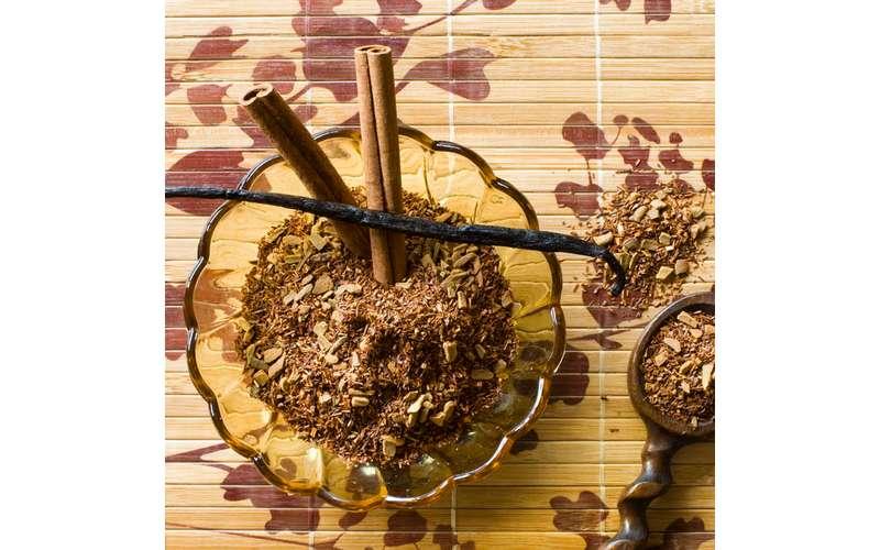 cinnamon sticks on top of ground up tea