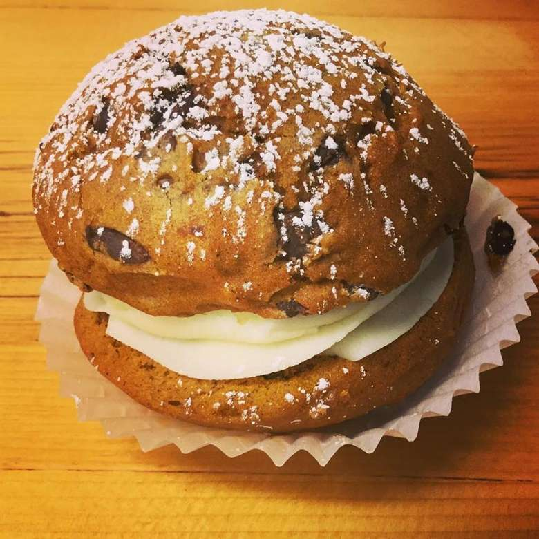 a large whoopie pie with powdered sugar on top