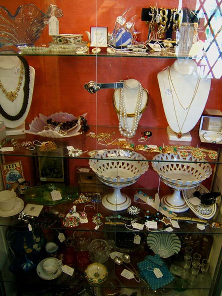 jewelry pieces on display