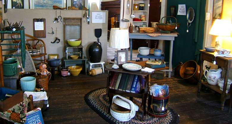 a variety of antiques on display