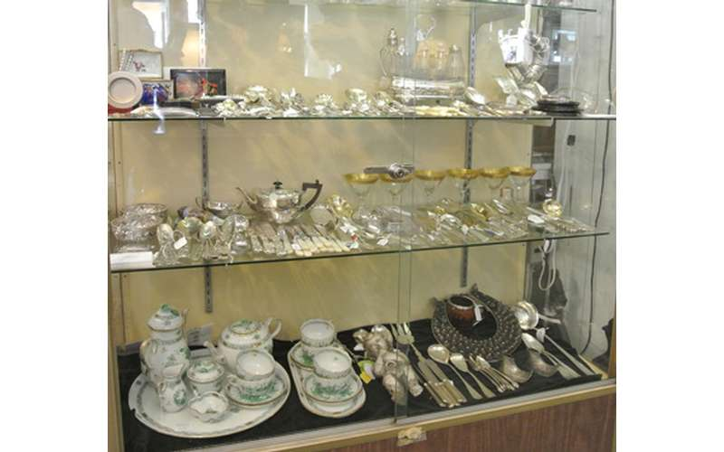 dishes on display