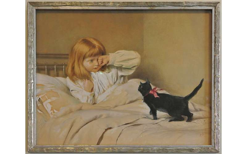 a painting of a little girl in bed with her black cat