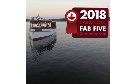 Adirondack Cruise & Charter boat on Saratoga Lake with the 2018 Saratoga Fab Five award