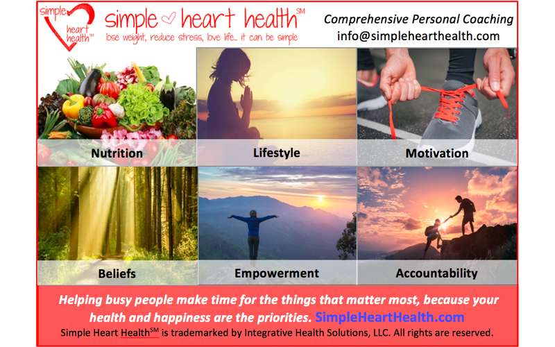 a chart with pictures and text on what Simple Heart Health offers