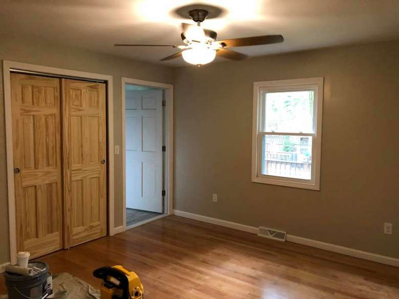 a room with hardwood floors