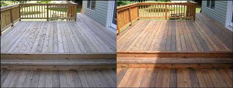 side by side photos of hardwood floors on a deck