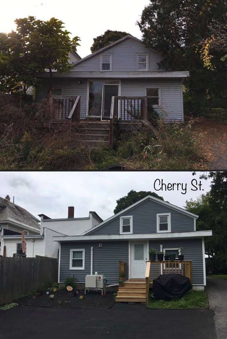 view of house before and after renovations