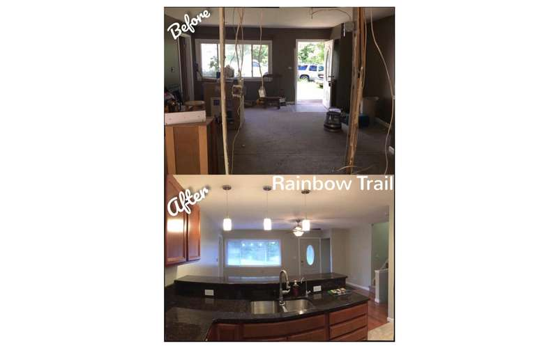 view of kitchen before and after renovations