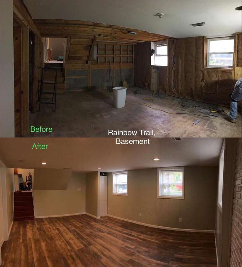 view of basement before and after renovations