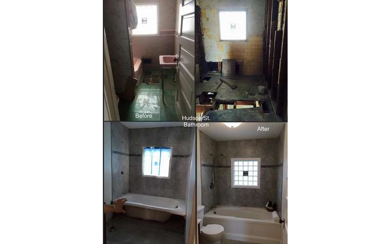 view of bathroom before and after renovations