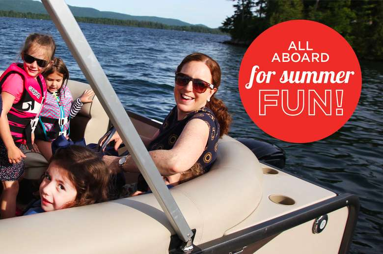 a pontoon boat with a woman and kids