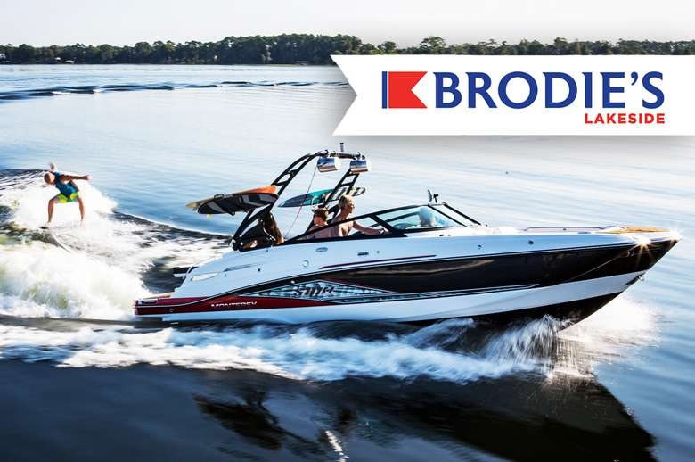 a speedboat photo with the brodie's lakeside logo