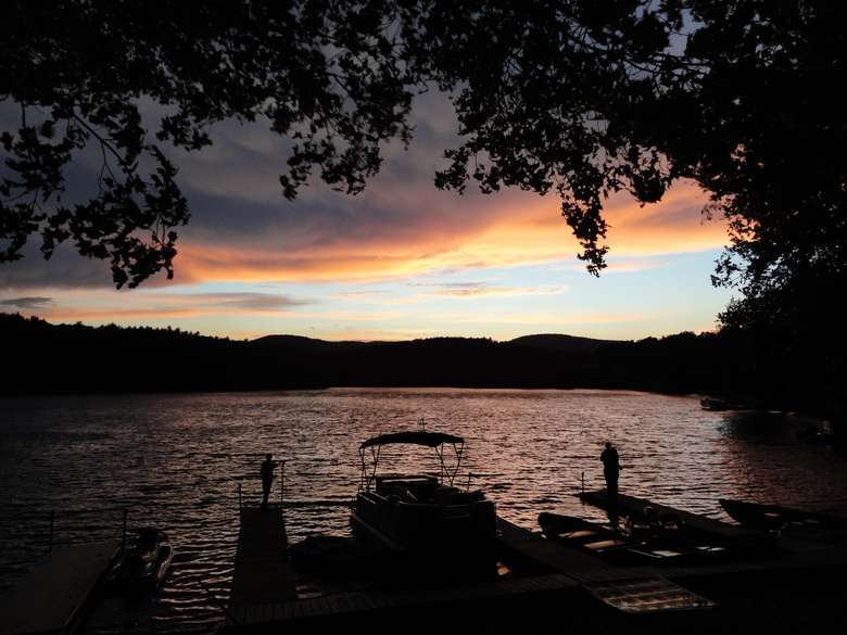 Sacandaga Lodge dock and river during the sunset