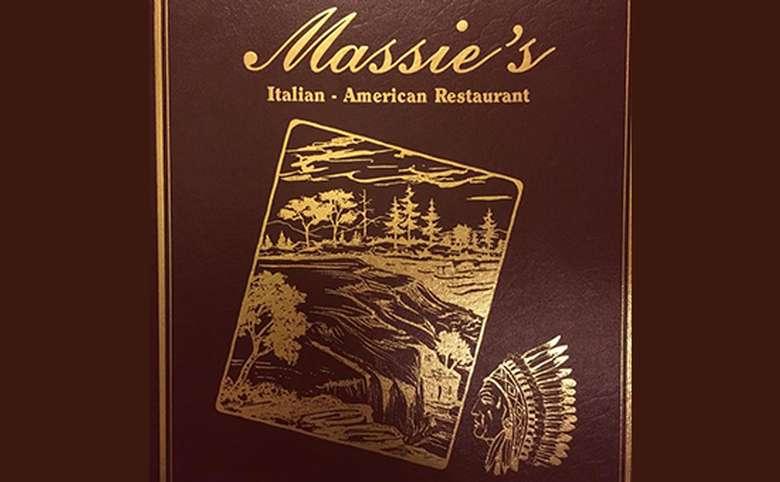 menu and logo for massie's restaurant