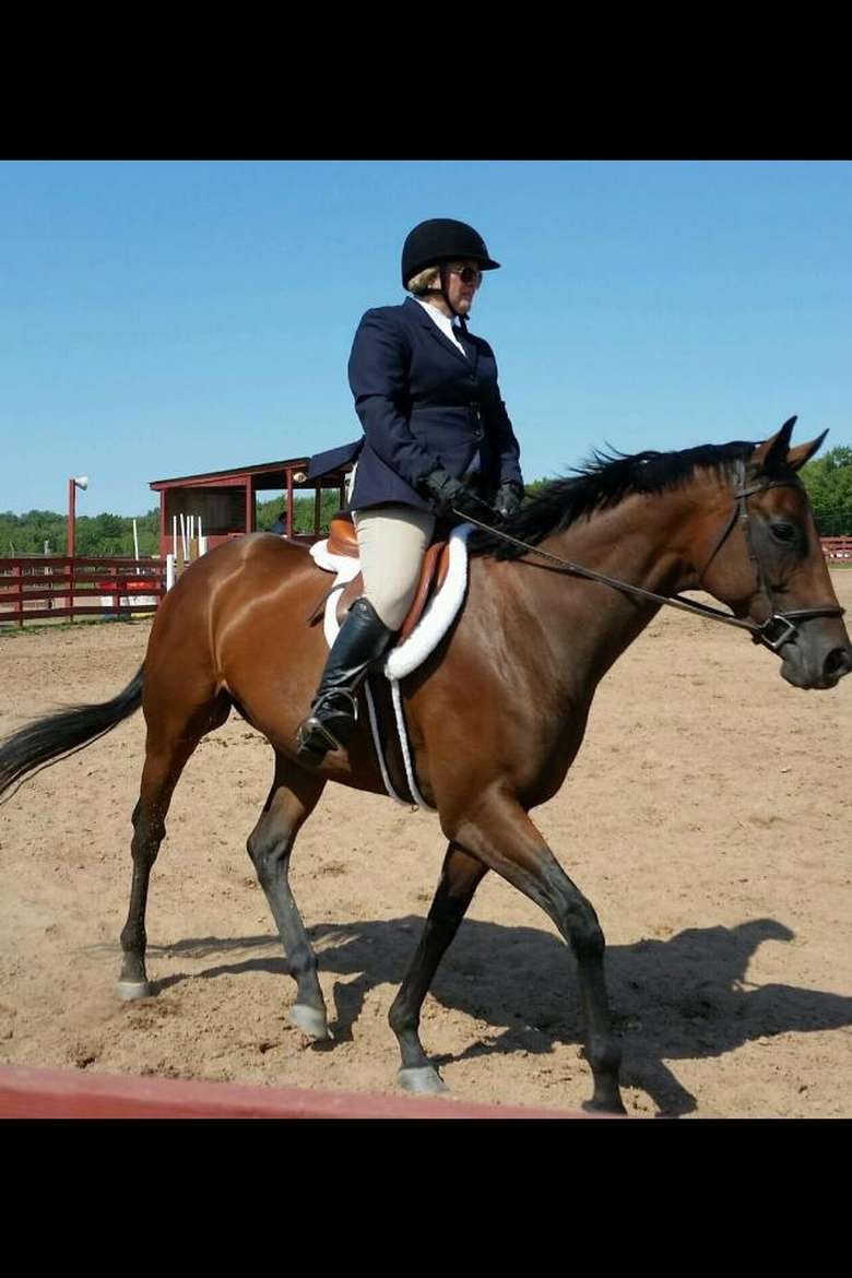Riding Instructor Whitney Mulqueen showing client's horse at a Pennsylvania Horse Show