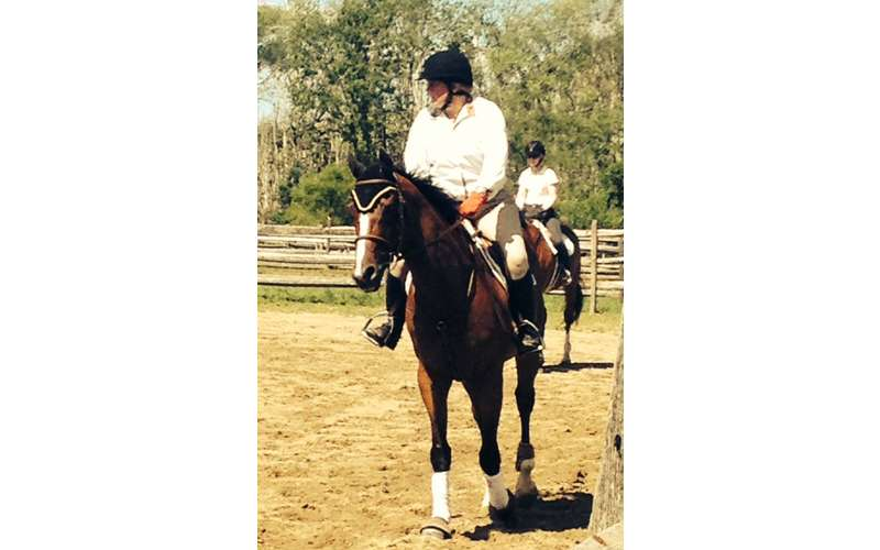 Riding Instructor  Whitney Mulqueen taking a clinic at Coker Farm in Bedford, NY with her coach Judy Richter